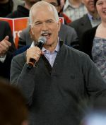 NDP leader Jack Layton speaks to supporters during the final week of the 2011 federal election campaign.
