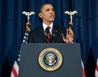 U.S. President Barack Obama delivers a speech.