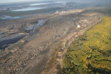 in situ oilsands development on the edge of boreal forest, natural habitat for caribou
