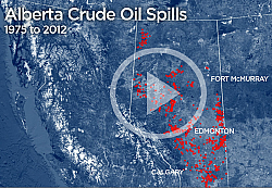 ERCB data shows Alberta has seen an adverage of two oil spills every day for the past 37 years.