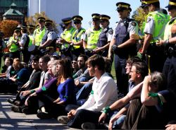Oilsands sit-in on Parliament Hill in Ottawa.