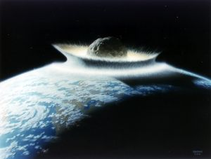 Artist's rendering of a massive asteroid striking Earth.