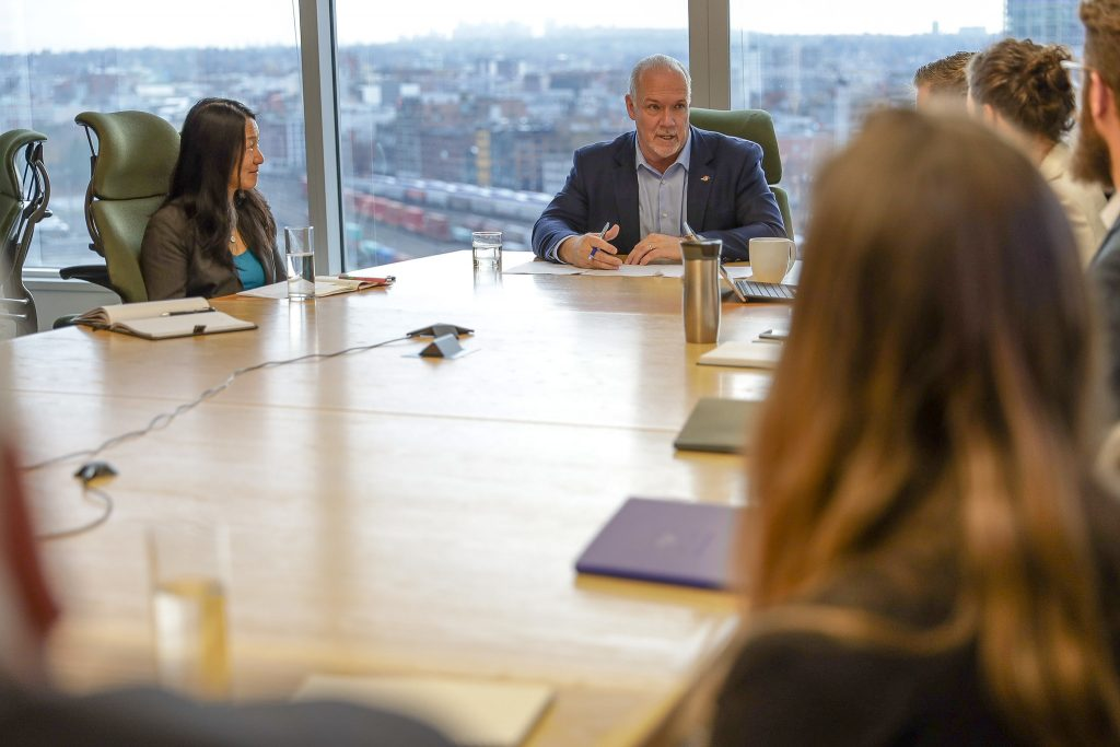 * Members of the Catalyst Business Coalition met with B.C. premier John Horgan in November 2019.