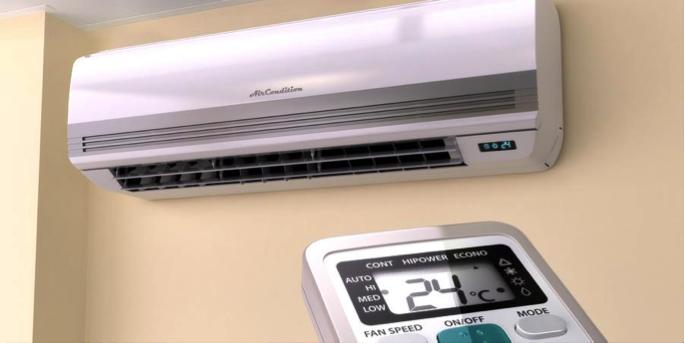 "* A modern ""mini-split"" heat pump unit. Photo: Synergy Home"