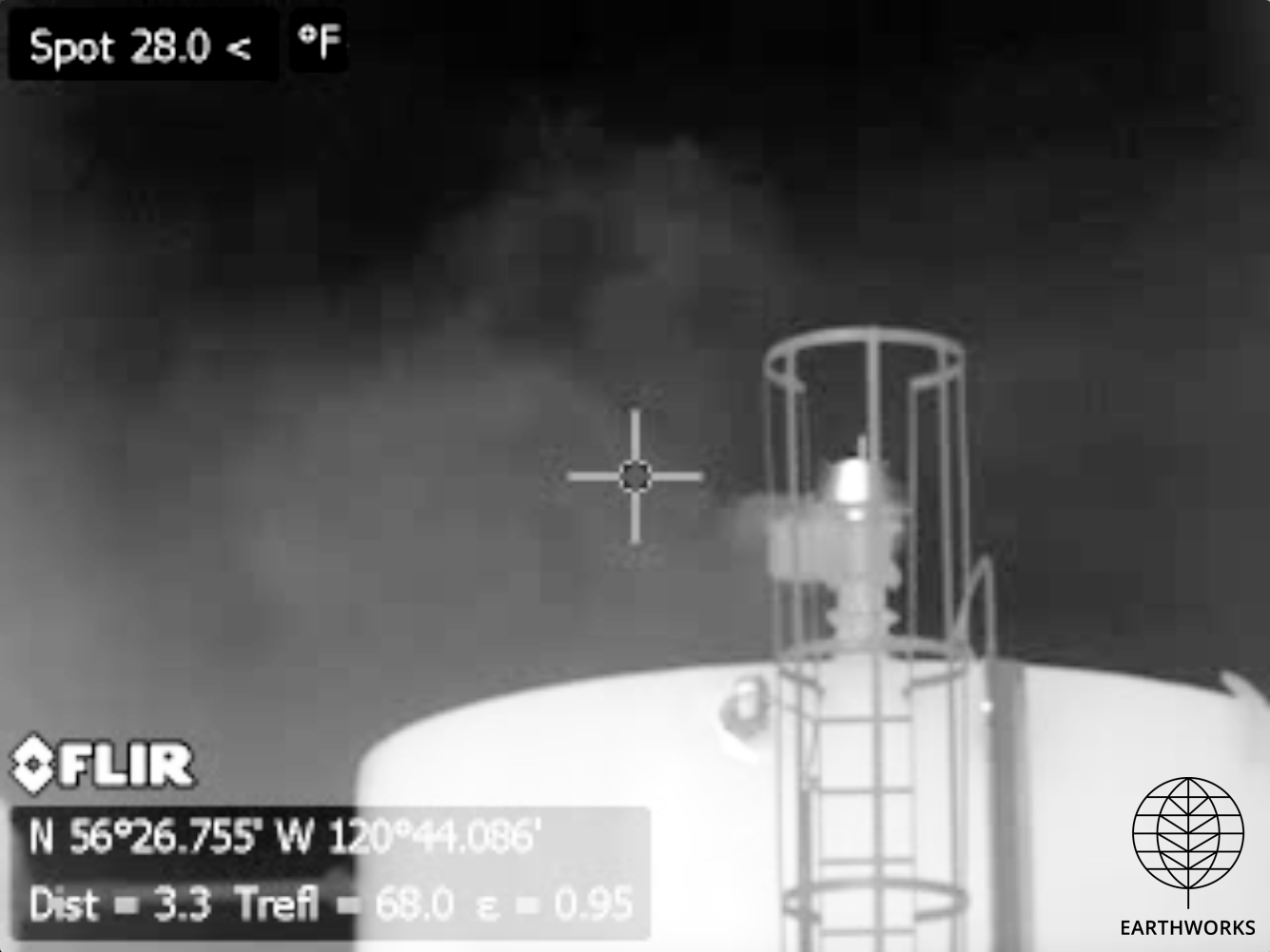 * An optical gas imaging camera shows a methane leak at a gas facility in northeastern B.C. Image: Earthworks
