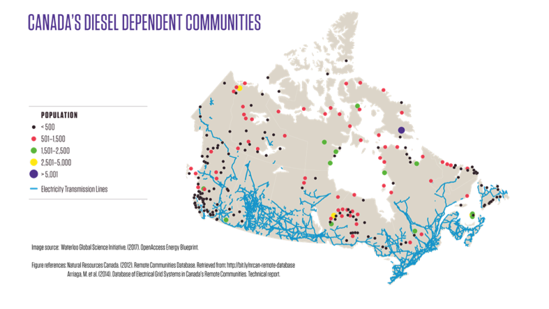 * Map of remote communities in Canada. Source: Waterloo Global Science Initiative
