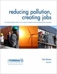 Cover of the Pembina Institute report, Reducing pollution, creating jobs.