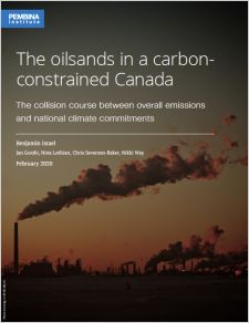 Report cover: Sunset over the oilsands