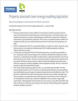 Cover of PACE enabling legislation recomendations for BC