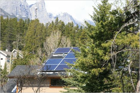 Solar PV on house in Canadian Rockies.