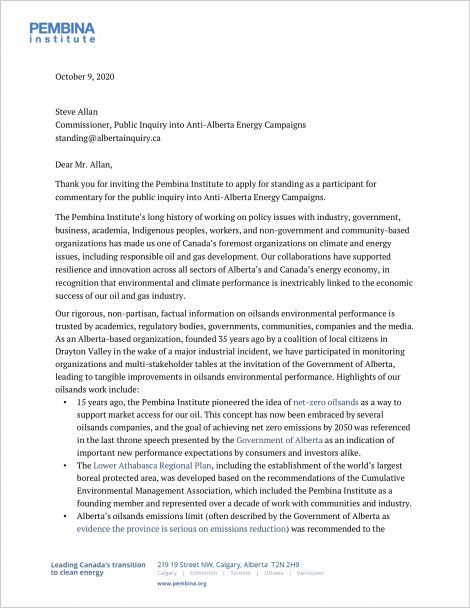 first page of letter to Public Inquiry into Anti-Alberta Energy Campaigns