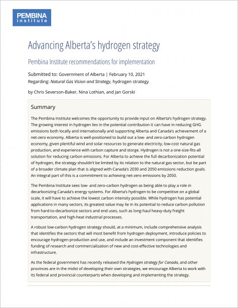 Cover of hydrogen strategy comments