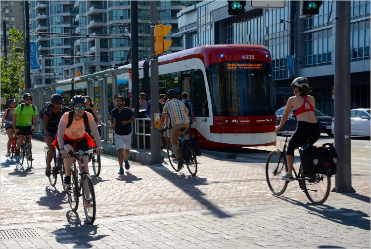 Streetcar and cycling in Toronto