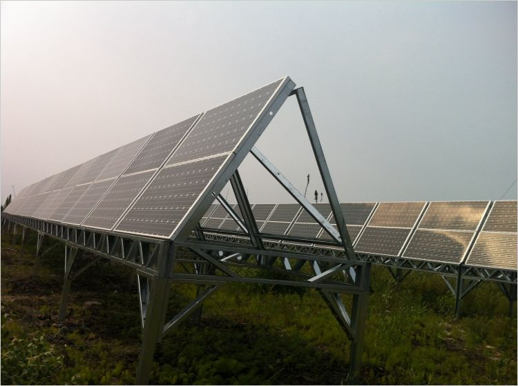 Solar panels installated at a remote Canadian community