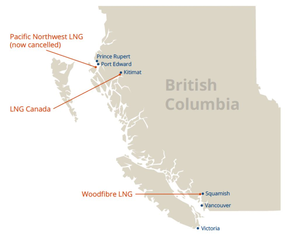 * Map showing the location of LNG Canada and other LNG projects.
